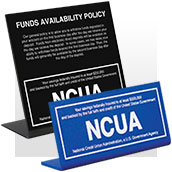 NCUA Signs - Counter