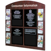 Consumer Information Display with Pockets for 4 Acrylic Signs